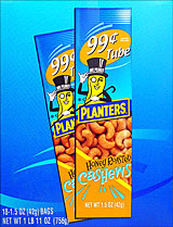 PLANTERS HONEY ROASTED CASHEWS 18 - 1.5OZ TUBES