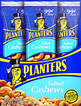 PLANTERS SALTED CASHEWS 18 - 1.5OZ TUBES