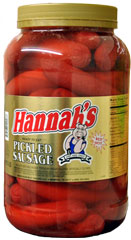 HANNAHS PICKLED SAUSAGE 4LB 26CT JAR