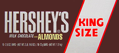 Hersheys Milk Chocolate with Almonds King Size 18CT Box